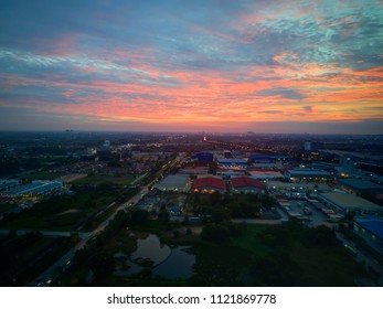 Aerial view of beautiful sunset  in Shah Alam, Malaysia.