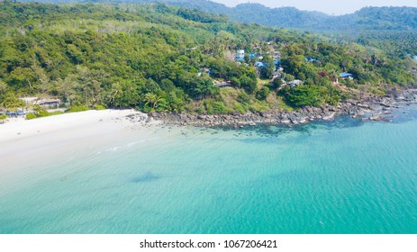 Aerial view of beautiful tropical island beach with emerald water at Koh Kood or Kood Island in Trat,Thailand. Holiday Vacation Concept