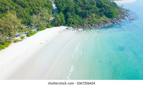 Aerial view of beautiful tropical island beach with emerald water at Koh Kood or Kood Island in Trat Province Thailand. Holiday Vacation Concept