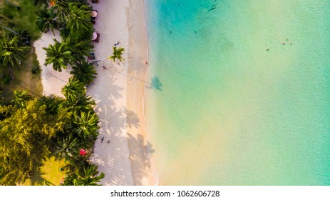 Aerial view with beautiful tropical sea and beach landscape for travel - Holiday Vacation concept