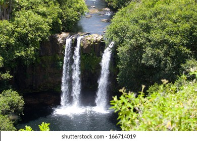 Aerial view of beautiful waterfall in Mauritius
