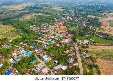 Aerial view Of beauty with villages in rural communities