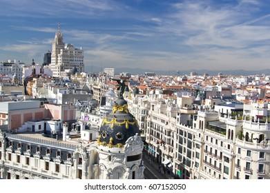 Aerial view of the  beginning of Calle Gran Via in Madrid, Spain