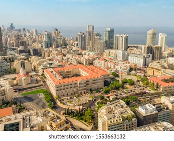 Aerial View of Beirut Lebanon, City of Beirut, Beirut cityscape; Grand Serail ,headquarters of the Prime Minister of Lebanon
