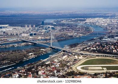 Aerial view of Belgrade, capital of Serbia