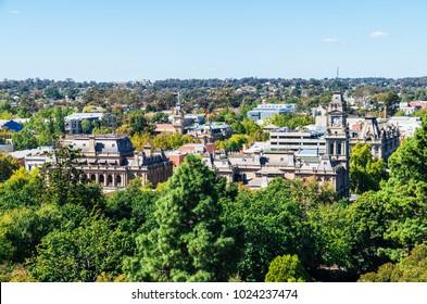 Aerial view of the Bendigo law court buildings and downtown area in Bendigo, Australia.