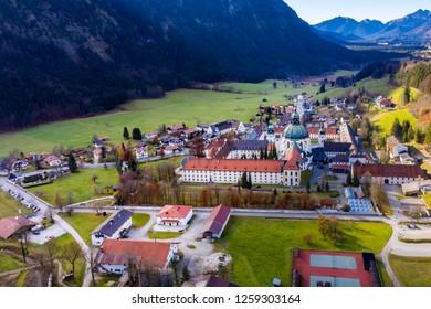 Aerial view, Benedictine abbey Ettal monastery, Ettal, Oberammergau, Bavaria, Germany