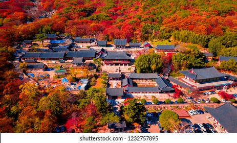 Aerial view of Beomeosa temple in Busan South korea.Image consists of temple located between the mountain covered with colorful trees