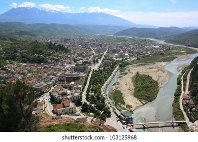 Aerial view of Berat village and river from the Citadel, Albania