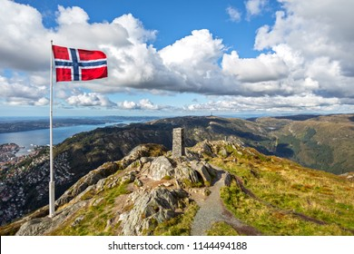 Aerial  View Bergen .Mount Floyen Viewpoint and Norway Flag in Bergen ,Norway
