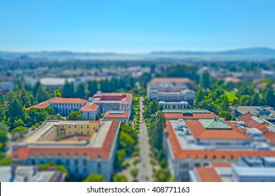 Aerial View of Berkeley University Campus and San Francisco Bay, California, USA. Tilt-shift effect applied