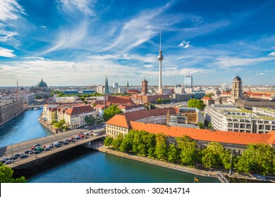 Aerial view of Berlin skyline with famous TV tower and Spree river in summer, Germany