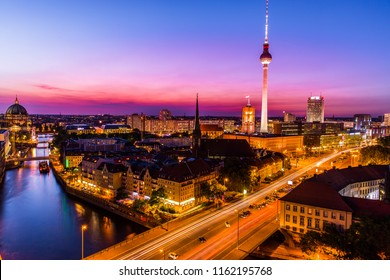 Aerial view of Berlin skyline and Spree river in beautiful Colorful sunset in summer, Germany