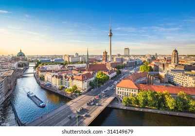 Aerial view of Berlin skyline and Spree river in beautiful evening light at sunset in summer, Germany