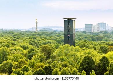 Aerial view of Berlin Tiergarten public park and Victory Column (Berliner Siegessaeule), view from Bundestag