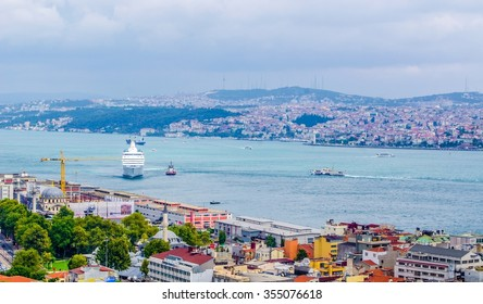 aerial view of beyoglu district, bosphorus and surrounding areas from the top of galata tower in istanbul.