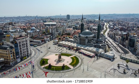 Aerial view of Beyoglu (Taksim) square on curfew days on April 26, 2020 - Istanbul, Turkey.