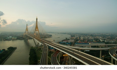 aerial view of bhumibol 2 bridge important modern landmark over chaopraya river in heart of bangkok thailand