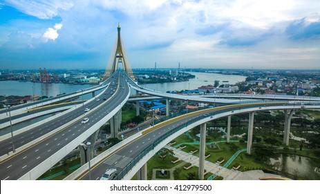 aerial view of bhumiphol bridge crossing chaopraya river important modern landmark of bangkok thailand capital