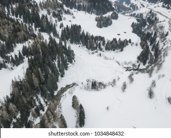 Aerial view of big avalanche in Swiss mountains