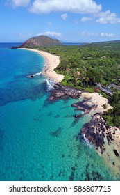 "Aerial View - Big Beach (Makena Beach) and ""Secret Beach"" (Paako Cove) - Island of Maui, Hawaii"