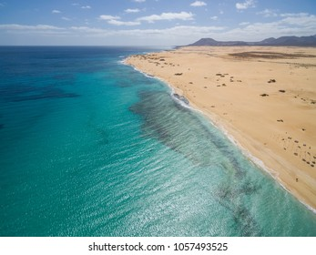 Aerial view of Corralejoâs Big Beaches with turquoise sea in Fuerteventura, Canary Islands.