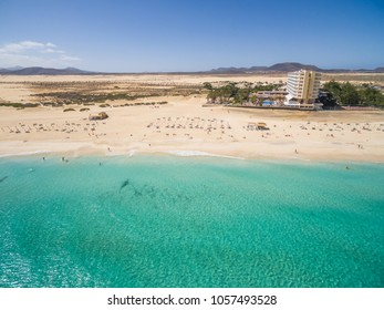 Aerial view of Corralejoâ??s Big Beaches with turquoise sea in Fuerteventura, Canary Islands.