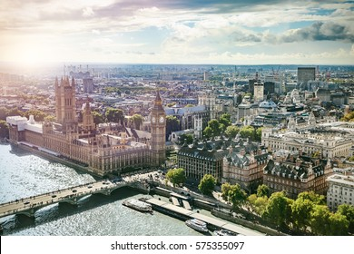 Aerial view of Big Ben, Parliament Building and Westminster Bridge on River Thames, with lens flare, London, UK, Europe