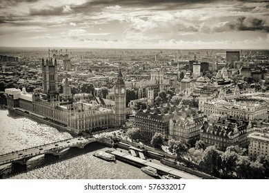Aerial view of Big Ben, Parliament Building and Westminster Bridge on River Thames, London, UK, Europe, Sepia style
