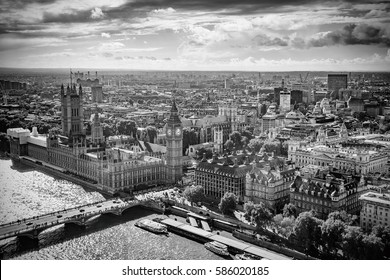 Aerial view of Big Ben, Parliament Building and Westminster Bridge on River Thames, London, UK, Europe, Black and white