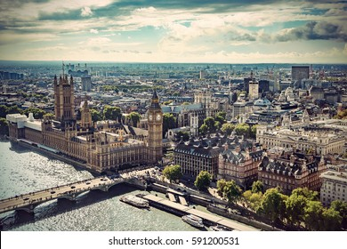 Aerial view of Big Ben, Parliament Building and Westminster Bridge on River Thames, London, UK, Europe, Vintage filtered style
