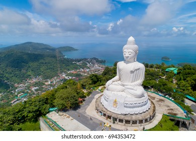 Aerial view Big Buddha of Phuket Thailand Height: 45 m. Reinforced concrete structure adorned with white jade marble Suryakanta from Myanmar(Burma).