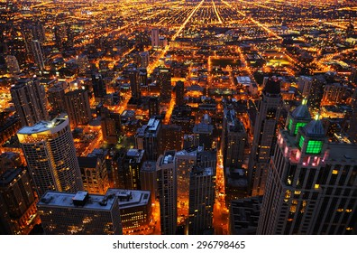 Aerial view of big city at night, Chicago, USA