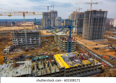 Aerial view of big construction site with many buildings under construction