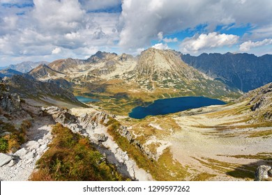 "Aerial view of Big Pond ""Wielki Staw"" in Five Polish Ponds Valley ""Dolina Pieciu Stawow Polskich"", Tatry mountains, Poland"