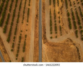Aerial view from a big road in the countryside . Top View. Alentejo, Portugal