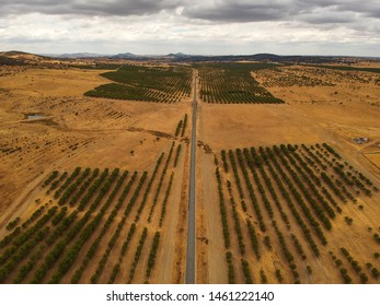 Aerial view from a big road in the countryside with clouds in background. Alentejo, Portugal