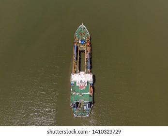 Aerial View Of Big Ship stop at middle sea at Muara Tebas, Kuching, Sarawak, Malaysia