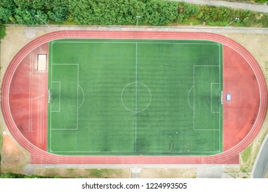 Aerial view of a big sports and soccer football field in a village near andernach koblenz neuwied in Germany