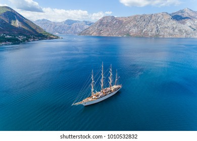Aerial view of the big white Sailing Ship in the Bokaktorsky Bay. Montenegro.