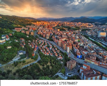 Aerial view of Bilbao, city of Basque Country.Spain. Drone Photo