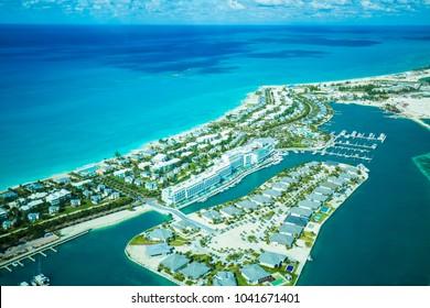 Aerial view Bimini island, Bahamas