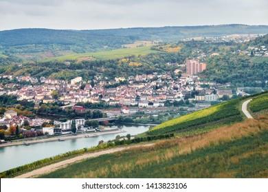 Aerial view to the Bingen am Rhein town from a tourist route not far from Rudesheim am Rhein