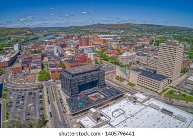 Aerial view of Binghamton, NY at the confluence of the Susquehanna and Chenango Rivers