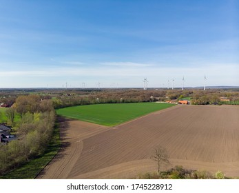 Aerial view of the bioenergy park, from the climate commune Saerbeck, Germany