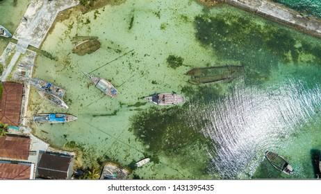Aerial view / bird view of wreck ship in Wakatobi, Indonesia, Asia