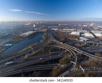 Aerial view of Birmingham city centre and Spaghetti Junction, UK.
