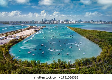Aerial View of Biscayne Bay and Miami Skyline from Virginia Key - Shutterstock ID 1931086316
