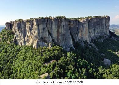 Aerial view of Bismantova Rock, Pietra di Bismantova, located near to Castelnovo Monti, Reggio Emilia, Italy