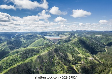 aerial view of the black hills of South Dakota in springtime
